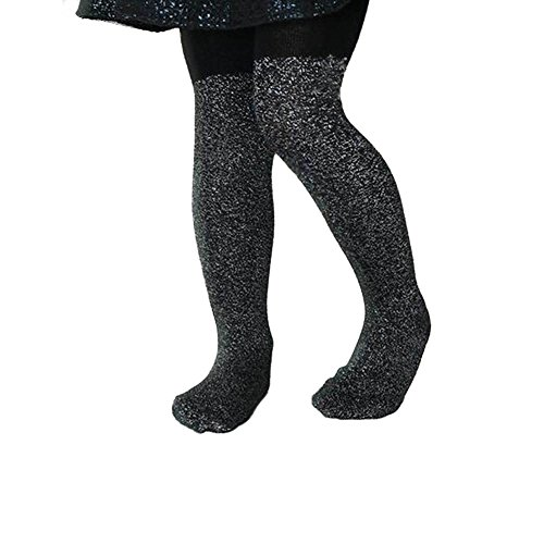 Ehdching Children Black Cotton Sparkly Baby Girls Sparkly Glitter Pantyhose stockings Tights for Baby Girls Kids (black, L(5-7 years)) -