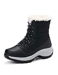DoraTasia Women's Winter Waterproof Lace Up Fur Lined Frosty Snow Boots Martin Boots Warm Prevent Slippery Boots