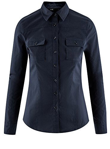 en Bleu Ultra Coton 7900n Femme oodji Chemise Basique nYHIqqa