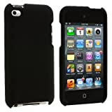 Black Rubberized Hard Snap-on Skin Case Cover Accessory for Ipod Touch 4th Generation