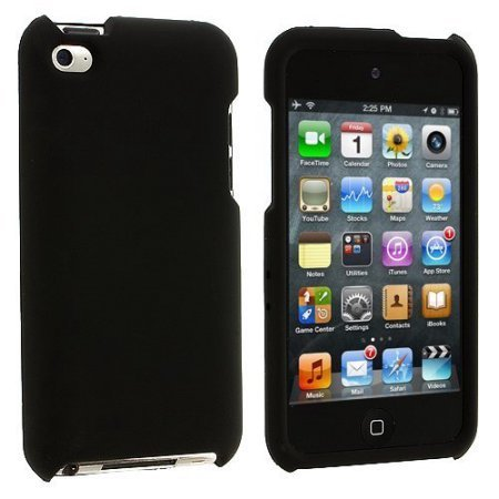 Premium Rubberized Snap-on Hard Crystal Front and Rear Case Cover for Apple iPod Touch 4G, 4th Generation, 4th Gen - Black compatible with 8GB / 32GB / 64GB -