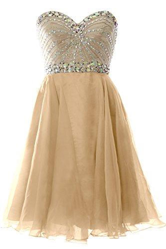 Gown Champagner Short Party Prom Chiffon Women Dress Wedding Strapless 2016 Formal MACloth PqvwA7UxA
