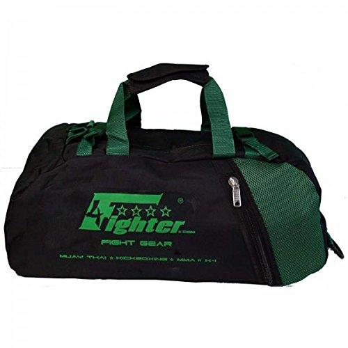 4Fighter Mesh Gymbag Trainingstasche mit Rucksack schwarz-grün Duffelbag Backpack 60cm x 30cm x 30cm