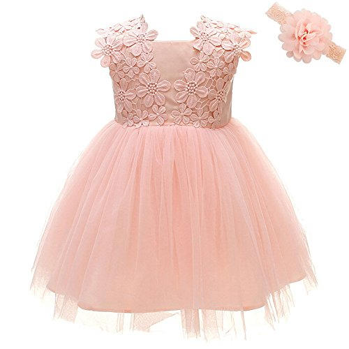 Coozy Baby Girls Dress Infant Princess Christening Baptism Party Birthday Formal Dress (Pink (Style 2), 3M/0-6months)