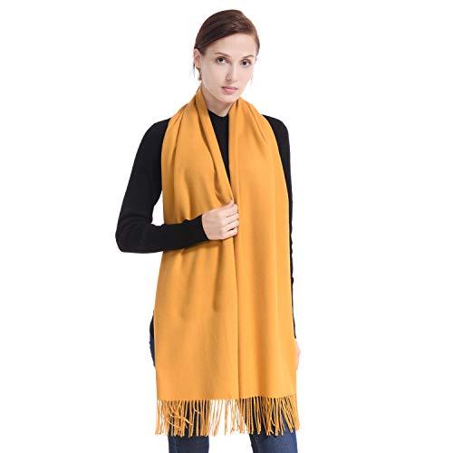 LERDU Ladies Gift Idea Cashmere Scarf Fashion Warm Wool Wrap Shawl Winter Stole for Women Ceylon Yellow