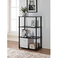 No Tools 6-Cube Storage Shelf - Black Oak - Includes Four Shelves Capable of Housing Cubes, Books, Decorative Items and More - Holds Storage Cubes - No Tools Require for Assembly