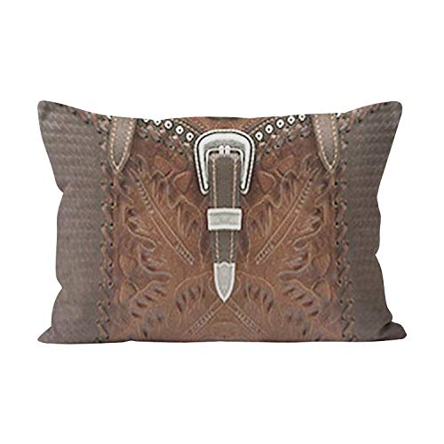 (Hahala Unique Western Brown Leather Look and Strap Hidden Zipper Home Decorative Rectangle Throw Pillow Cover Cushion Case King 20x36 Inch One Side Design Printed Pillowcase)