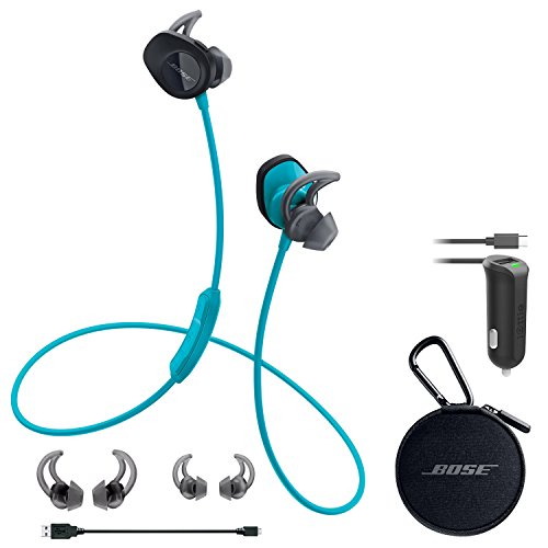 Bose SoundSport Wireless Headphones - Aqua & Car Charger - Bundle by Bose