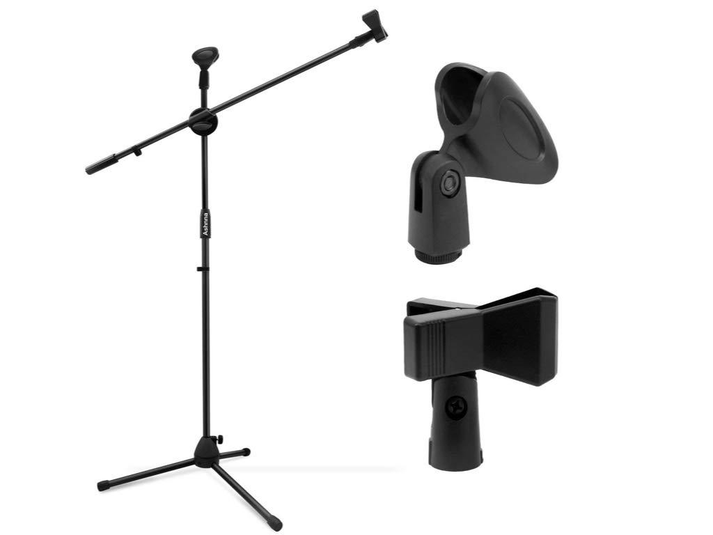 Supporto per microfono, con 2supporti Ashnna treppiede microfono MIC clip titolari, regolabile, pieghevole Ashnna Direct