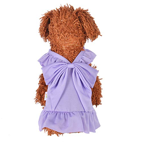 Geetobby Summer Bow-Knot Pet Costume Plaid Skirt Dog Clothes Flowers Dog Dress -