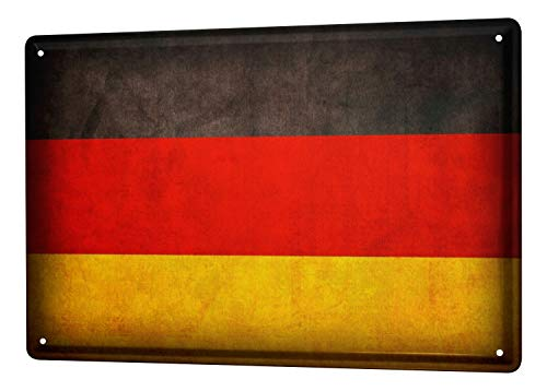 Tin Sign World Trip Germany flag Decorative Wall Plate 8X12