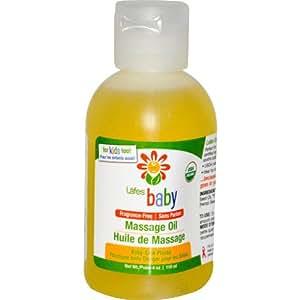 Bebé, Aceite de masaje, sin fragancia de 4 onzas (118 ml) - Natural Cuidado del cuerpo de Lafe