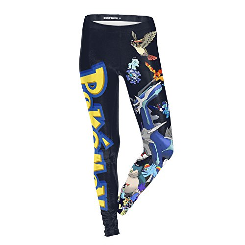 (Quoxiao Women Pokemon Digital Printed Leggings Tights Stretch Pants)
