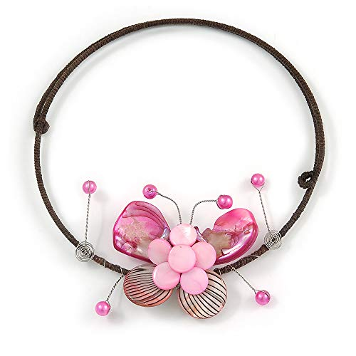 (Avalaya Pink Sea Shell Butterfly Pendant with Flex Wire Choker Necklace - Adjustable)