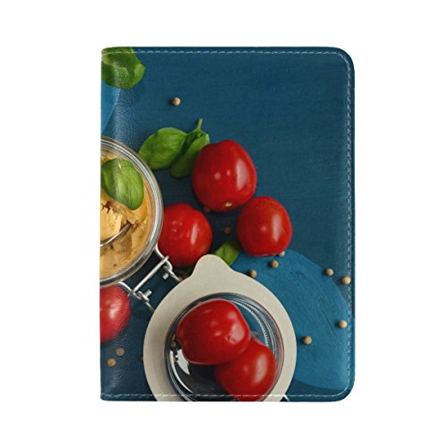 Tomatoes Feta Cheese Basil Vegetables Leather Passport Holder Cover Case Travel One Pocket