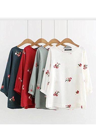 Top Casual Floral Femme Classique Shirt Haut rouge Style3 T MatchLife wqR4E