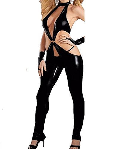 [Fashion Queen Sexy Black Low Cut Women's Catsuit Crotchless Bodysuit Fetish Lingerie (Large, Black)] (Body Central Halloween Costumes)