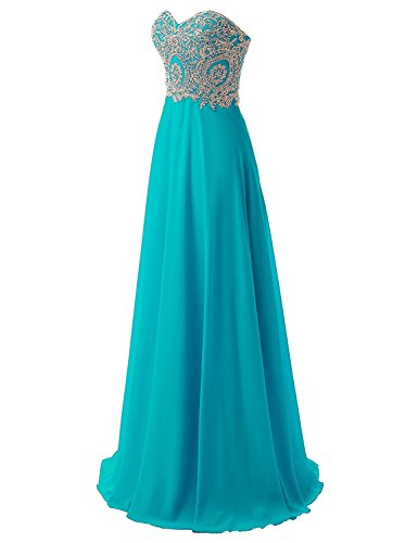 Junior Gold Lace Applique Chiffon Long Prom Gown Homecoming Bridesmaid Dress Turquoise US12