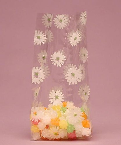 Daisies Printed Cello Goodie Bags - 20 Pack - 9 1/2in. x 4in. x 2.5in.