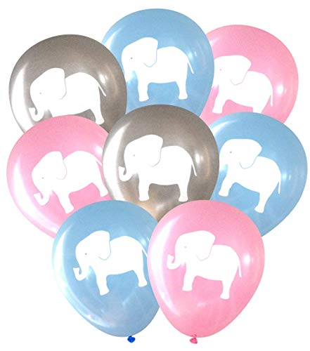 (Gender Reveal Elephant Balloons (16 pcs) by Nerdy Words (Grey, Pink &)