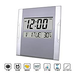 BESTWYA Digital Wall Clock,Silent Alarm Clock with Large LCD Screen with Time/Alarm/Snooze/Month/Date/Weekday/Indoor Temperature (Gray&Silver,Batteries Included)