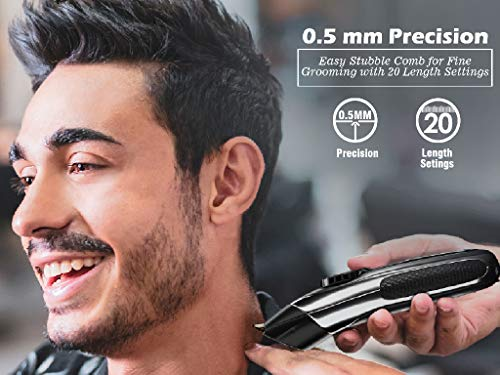 SYSKA HB100 Ultraclip Hair Clipper and Trimmer support Super Fast Charging, Runtime-90Mins, 20 Length Settings with 4 Stubble Guided Comb (Black)