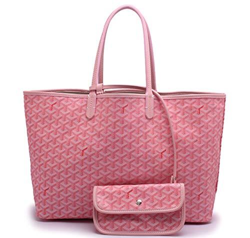 Dinera Shopping PU Tote Bag Set Fashion Women Shoulder Bags Handbags with Coin Purse(pink-gm)