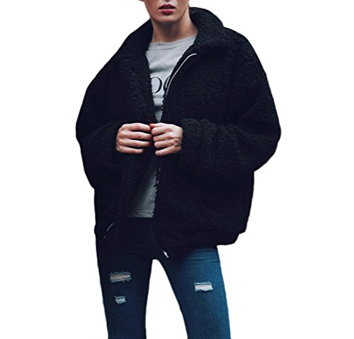 Lunga Giaccone Jacket Giacche Battercake Fidanzato Pellicce Casuale Sintetico Con Manica Lanoso Cerniera Bavero Fashion Nero Outerwear Sciolto Donne Inverno Hot Eleganti Donna Casual Cappotto Stile BqpxvgqA