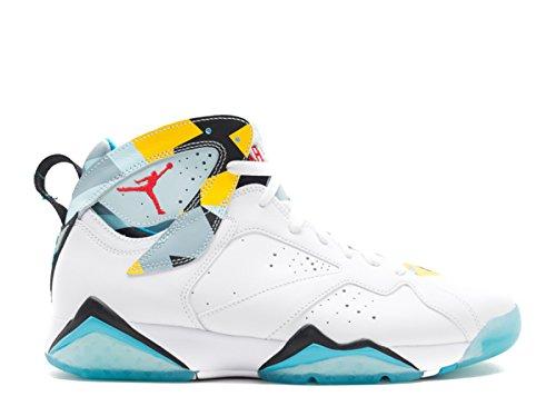 Nike Hombres Air Jordan 7 Retro N7 Blanco / Hielo Azul Oscuro Cuero Turquesa