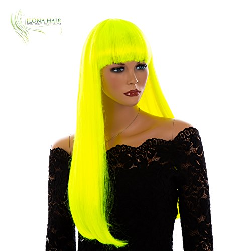 ENJOY THE DIFFERENCE Neon Long Wig with Bang Straight Synthetic Hair Wig for Woman Yellow/Green (DF10)]()