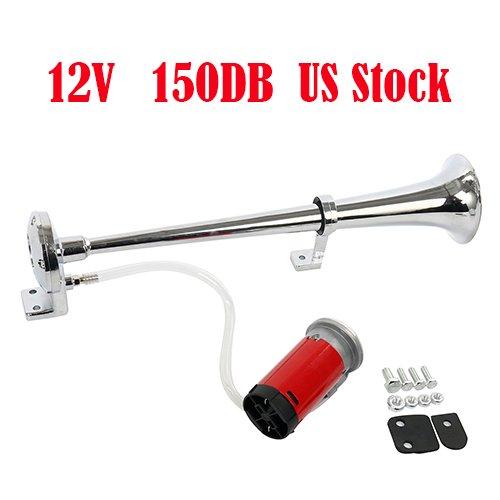 Single Trumpet Horn (Yaetek 12V Single Trumpet Air Horn Chrome + Compressor Super Loud 150db For Truck Lorry Boat VAN Train)