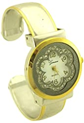 Geneva Women's Flower Bangle Watch with Rhinestone silver tone and gold tone - 1