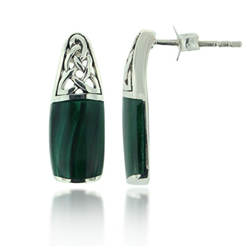 925 Oxidized Sterling Silver Green Malachite Square Gemstone Celtic Filigree Knot Dangle Earrings