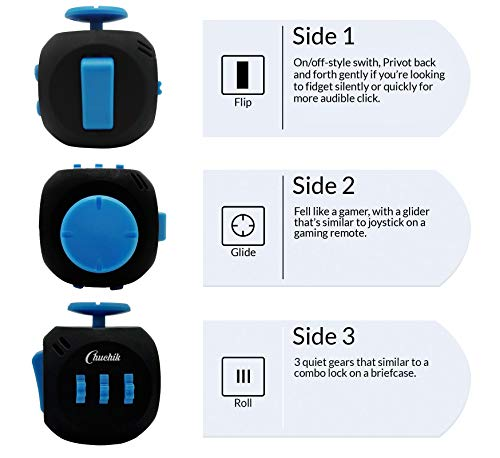 Chuchik Best Fidget Cube Toys. Prime Desk Toy, Reduce Anxiety and Stress Relief for Autism, ADD, ADHD & OCD (Black-Blue) by Chuchik (Image #1)