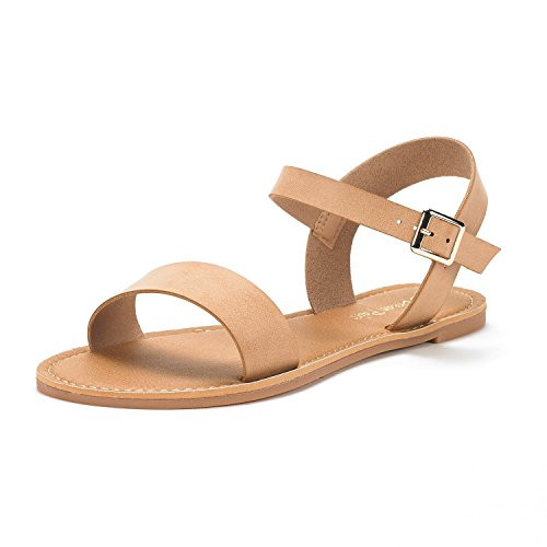DREAM PAIRS Women's HOBOO-New Cute Open Toes One Band Ankle Strap Flexible Summer Flat Sandals Nude Size 9