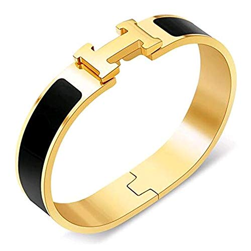 Glenda Dunn Stainless Steel Wide 20MM Fashion Buckle Bangle Enamel Bracelet Perimeter 7.3