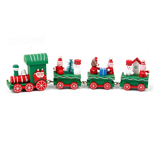(Noon-Sunshine decorative-plaques Wooden Christmas Train Christmas Decorations for Home Xmas Little Train Year Gift 2019 Party,Style)