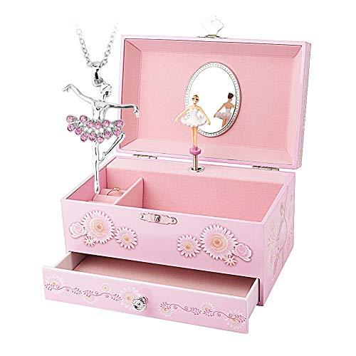 Round Rich Music Jewelry Box and Ballerina Dance Necklaces with Melody is Swan Lake - Treasure Musical Fairy Jewelry Box