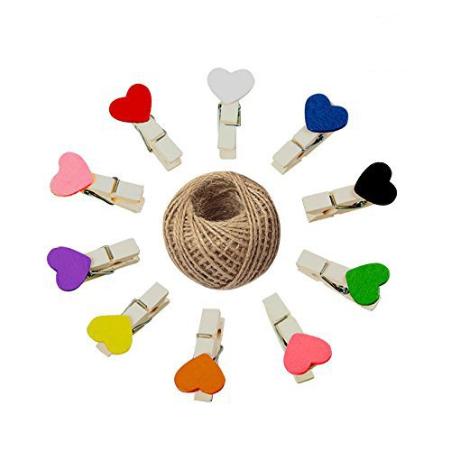 KINGLAKE 100 Pcs Mini Colored Wooden Heart Clothespins 3.5cm Photo Craft Clips for Wedding Party Decor with 100 Feet Jute Twine (Photo Garland)