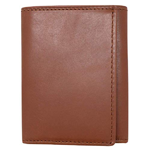 (Cognac Nappa Calf Trifold Genuine Leather Wallet - RFID Blocking - American Factory Direct - Made in the USA by Real Leather Creations FBA557)
