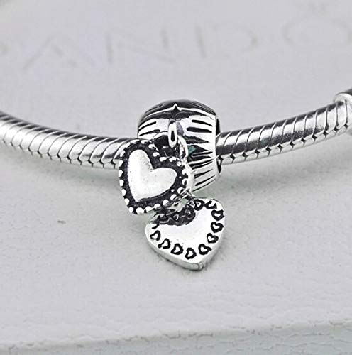 (Calvas Sterling Silver 925 Stamped Screw Hole Double Heart Dangling Beads for Bracelet in Stock,PSS029,1pcs Sold,Accept Custom)