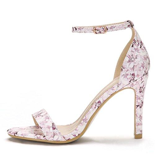Stiletto Women 4 Sandals 3 Floral Allegra Strap K Purple Inches Light Ankle Heel 3 5XwqSg4