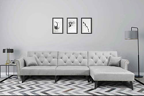 Modern Upholstered Sectional Sofa Bed with Reversible Sectional Chaise Lounger Convertible Reversible 3 Piece Custom Couch Feature Modern L-Shaped Sectional 2pc Loveseat Chaise Ottoman Sofa Grey