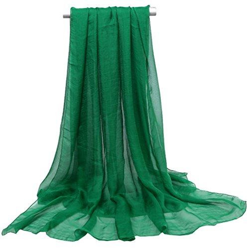 Green Chiffon Scarf - Ouye Women's Soft Chiffon Scarves , Dark Green, One Size