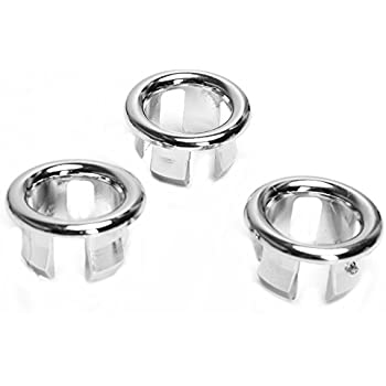 3x Bathroom Kitchen Sink Hole Round Overflow Cover Basin