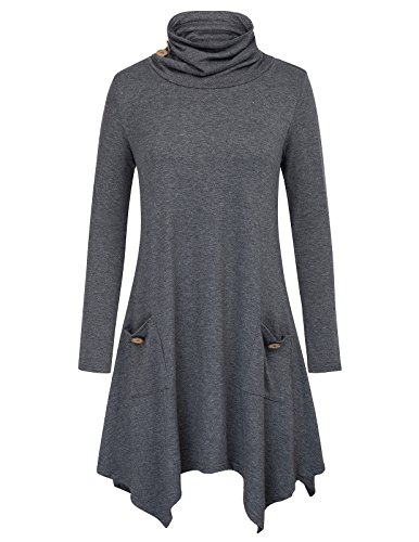 GRACE KARIN Casual Long Sleeve Asymmetric Tunic Tops with Pockets Size L Grey