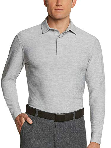 Shirt Golf Friend Best - Men's Dry Fit Long Sleeve Polo Golf Shirt, Moisture Wicking and 4 Way Stretch Grey