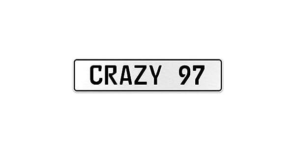 Vintage Parts 555684 Crazy 97 White Stamped Aluminum European License Plate