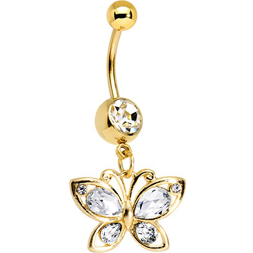 Body Candy Gold PVD Steel Clear Accent Burst of Color Butterfly Dangle Belly Ring Butterfly Gold Belly Button Ring