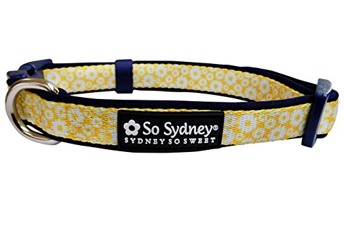 (So Sydney Pet Vintage Floral Flower Collection Adjustable Dog Collar or 5' Leash (M Collar, Daisy Navy))
